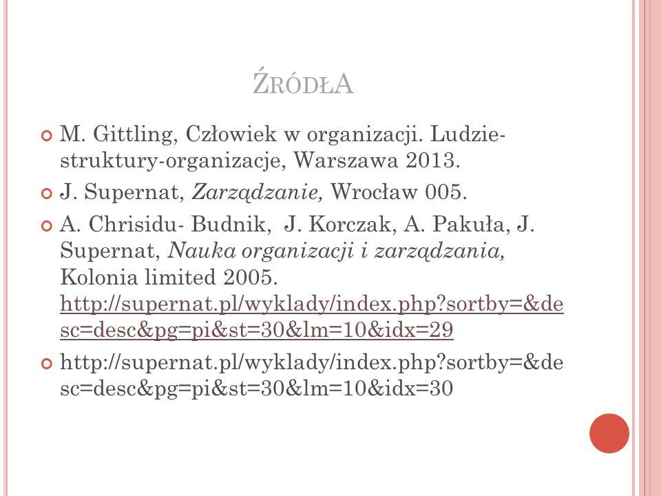 ŹródłA M. Gittling, Człowiek w organizacji. Ludzie- struktury-organizacje, Warszawa 2013. J. Supernat, Zarządzanie, Wrocław 005.