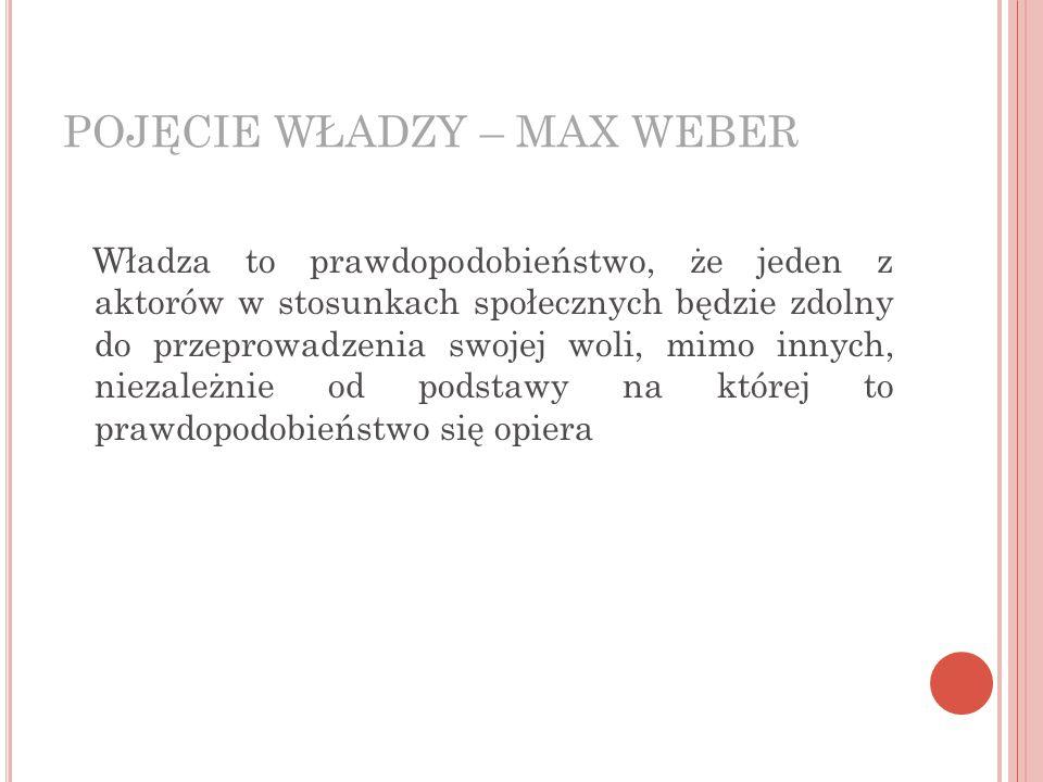 POJĘCIE WŁADZY – MAX WEBER