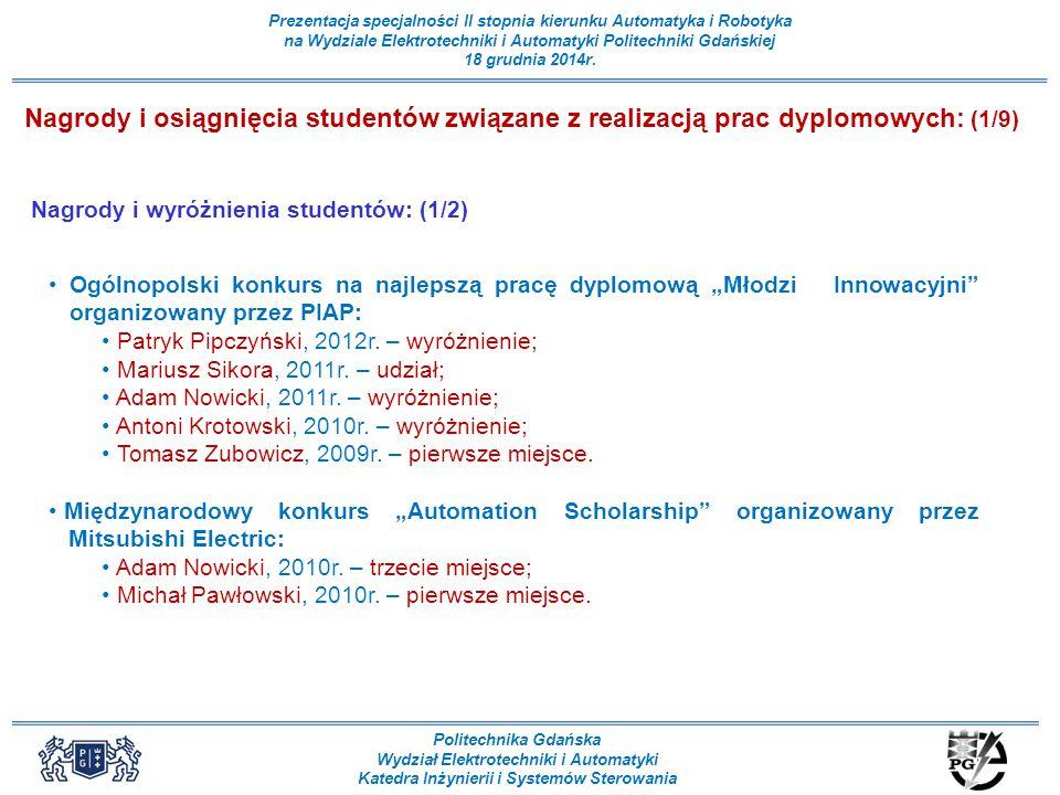 Nagrody i osiągnięcia studentów związane z realizacją prac dyplomowych: (1/9)