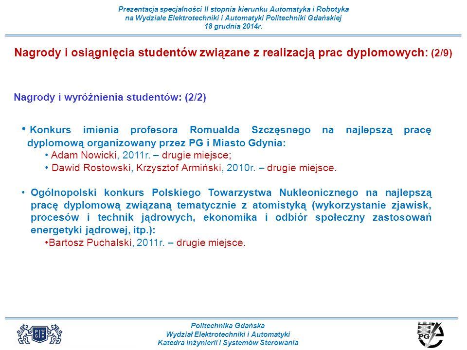 Nagrody i osiągnięcia studentów związane z realizacją prac dyplomowych: (2/9)