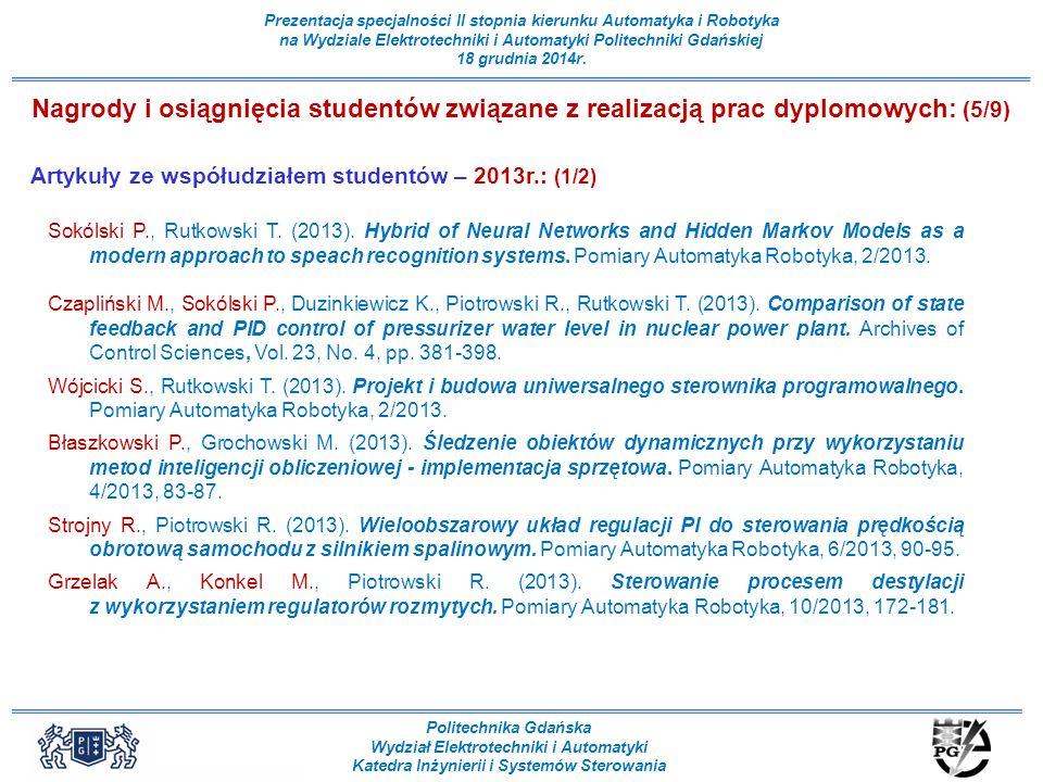 Nagrody i osiągnięcia studentów związane z realizacją prac dyplomowych: (5/9)