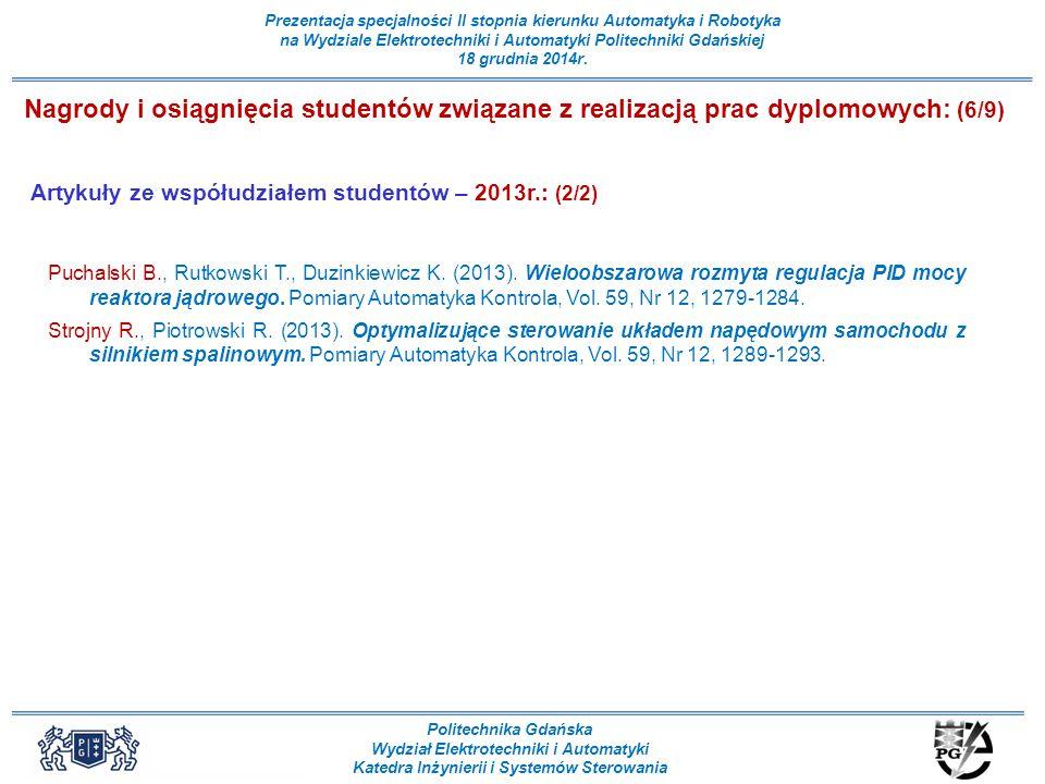 Nagrody i osiągnięcia studentów związane z realizacją prac dyplomowych: (6/9)