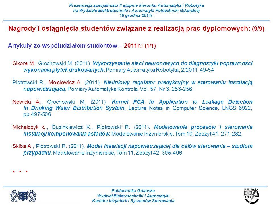 Nagrody i osiągnięcia studentów związane z realizacją prac dyplomowych: (9/9)
