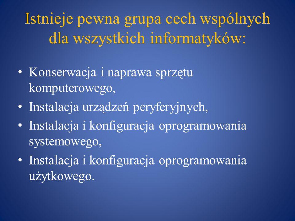 Istnieje pewna grupa cech wspólnych dla wszystkich informatyków: