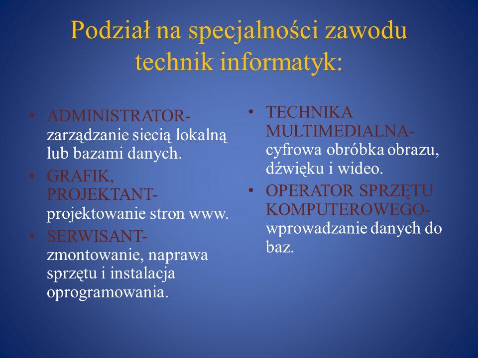 Podział na specjalności zawodu technik informatyk: