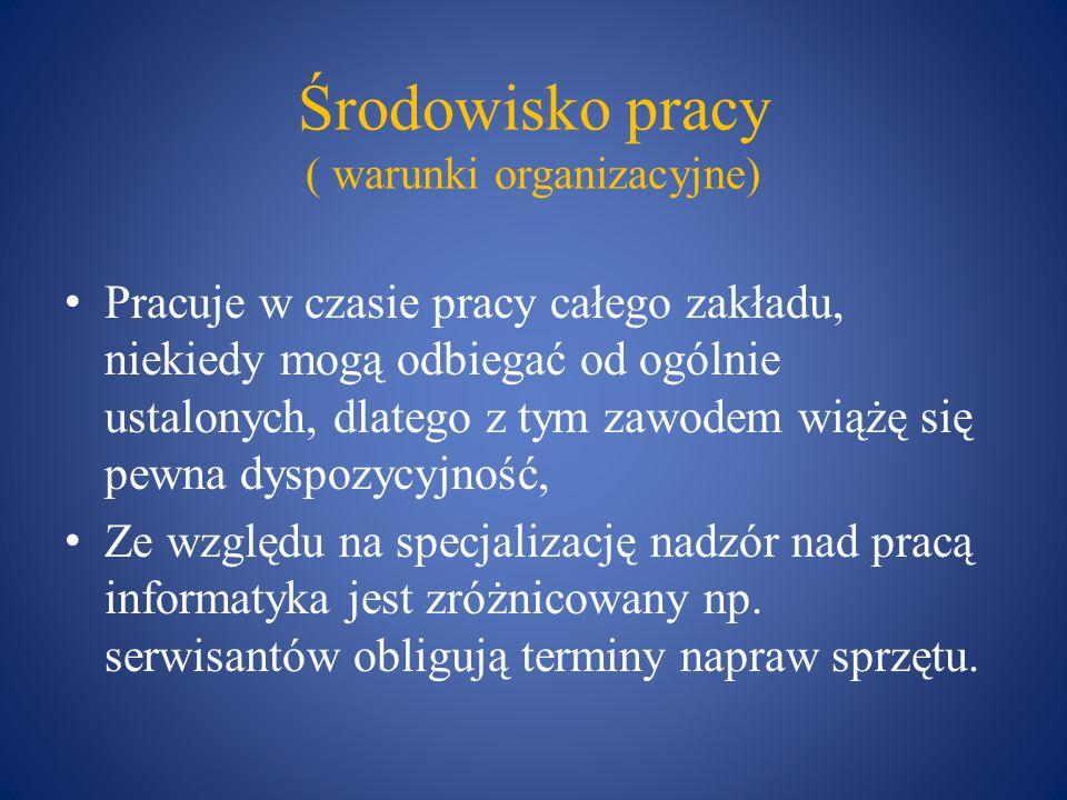Środowisko pracy ( warunki organizacyjne)