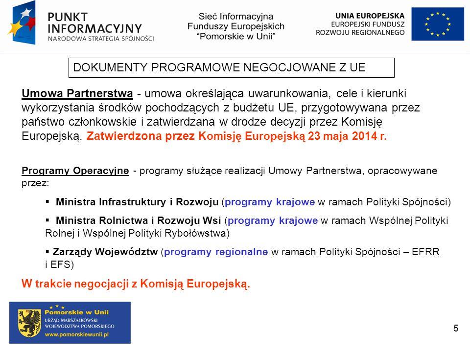 DOKUMENTY PROGRAMOWE NEGOCJOWANE Z UE