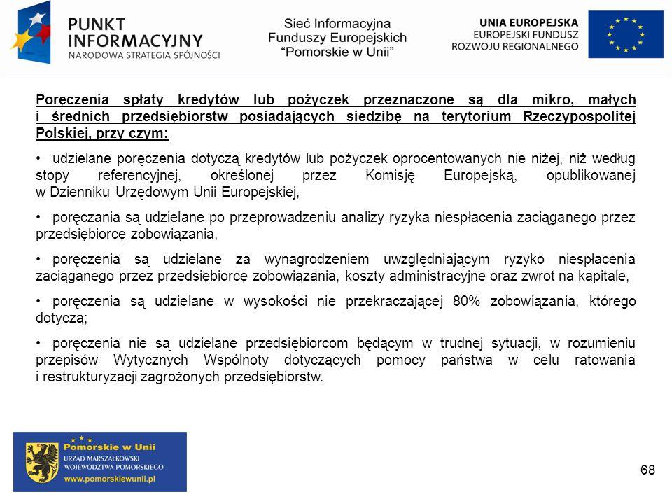 Poręczenia spłaty kredytów lub pożyczek przeznaczone są dla mikro, małych i średnich przedsiębiorstw posiadających siedzibę na terytorium Rzeczypospolitej Polskiej, przy czym: