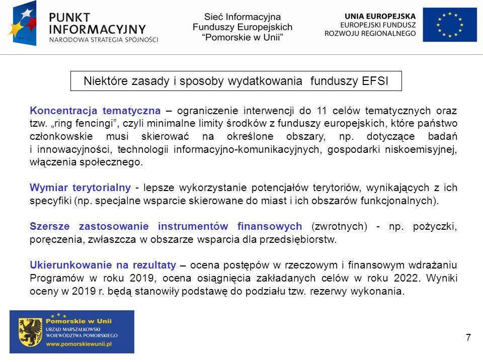 Niektóre zasady i sposoby wydatkowania funduszy EFSI