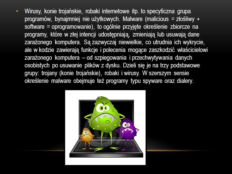 Wirusy, konie trojańskie, robaki internetowe itp
