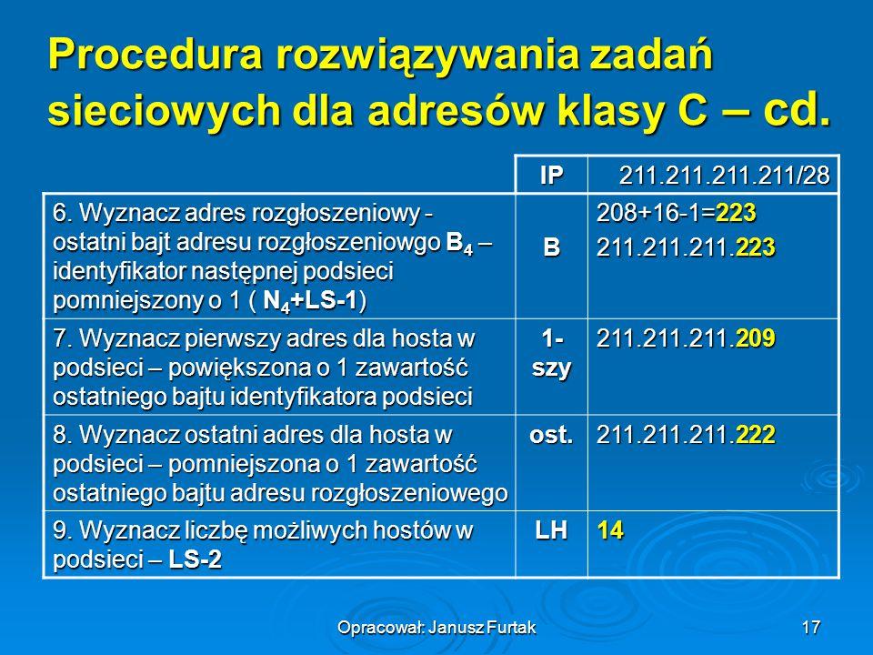 Procedura rozwiązywania zadań sieciowych dla adresów klasy C – cd.