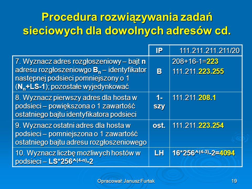 Procedura rozwiązywania zadań sieciowych dla dowolnych adresów cd.