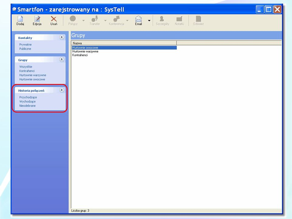 Grupowanie kontaktów między innymi daje możliwość wysłania wiadomości email na adresy wszystkich członków grupy.