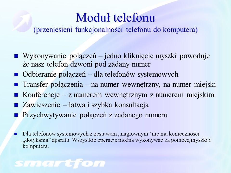 Moduł telefonu (przeniesieni funkcjonalności telefonu do komputera)