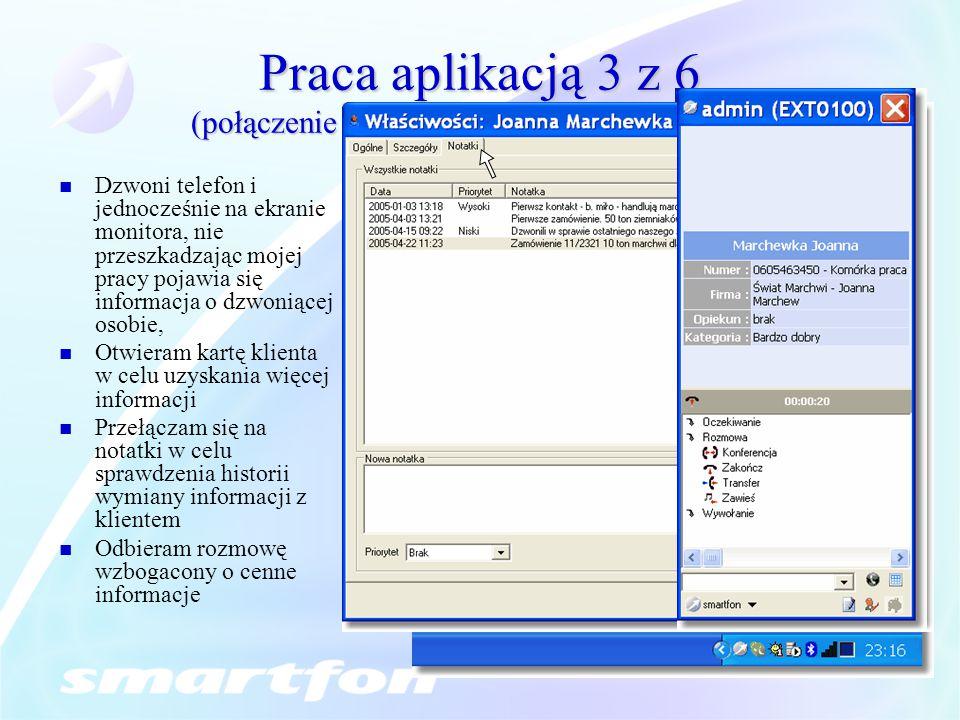 Praca aplikacją 3 z 6 (połączenie przychodzące, dostęp do danych)