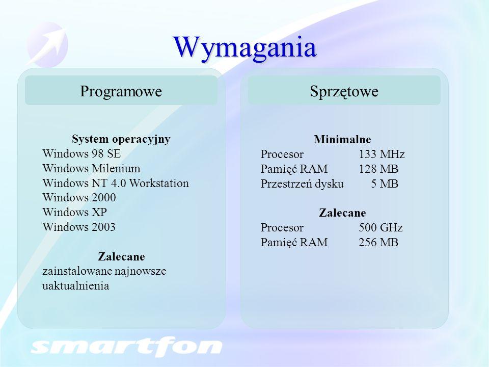 Wymagania Programowe Sprzętowe System operacyjny Minimalne