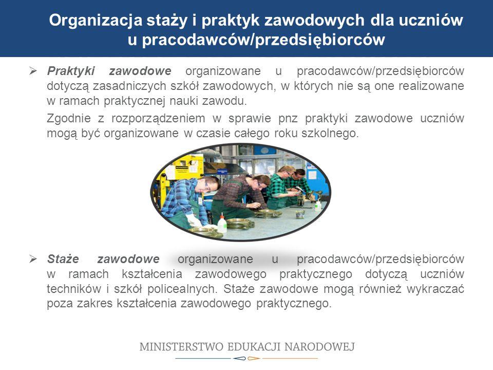 Organizacja staży i praktyk zawodowych dla uczniów u pracodawców/przedsiębiorców