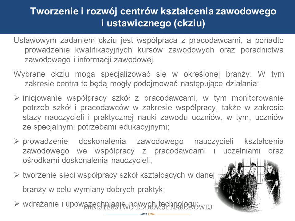 Tworzenie i rozwój centrów kształcenia zawodowego i ustawicznego (ckziu)