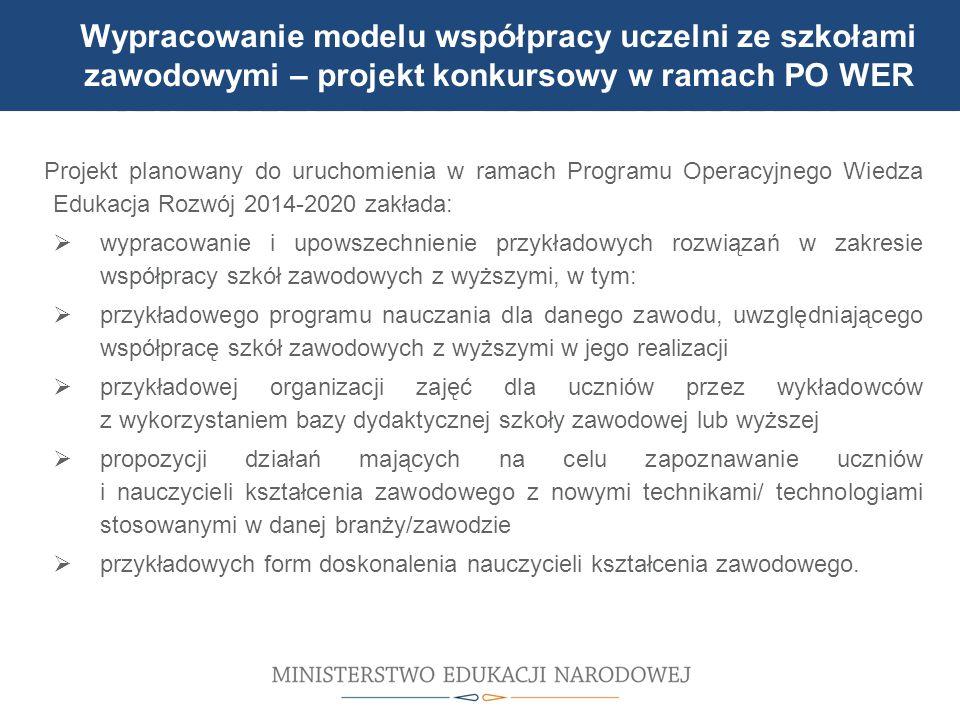 Wypracowanie modelu współpracy uczelni ze szkołami zawodowymi – projekt konkursowy w ramach PO WER