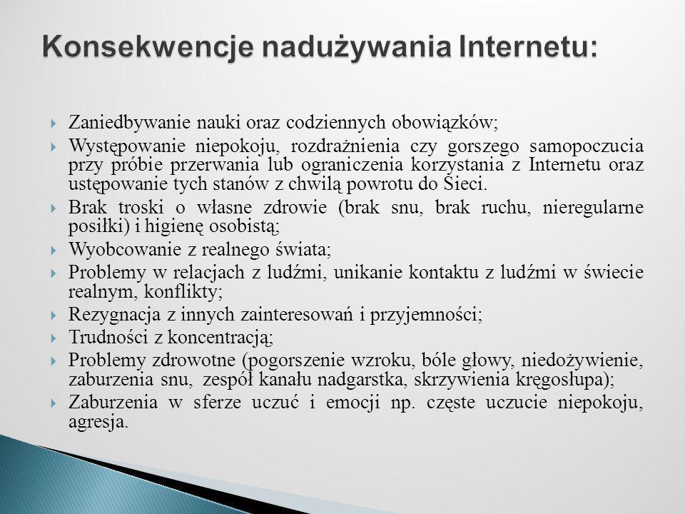 Konsekwencje nadużywania Internetu: