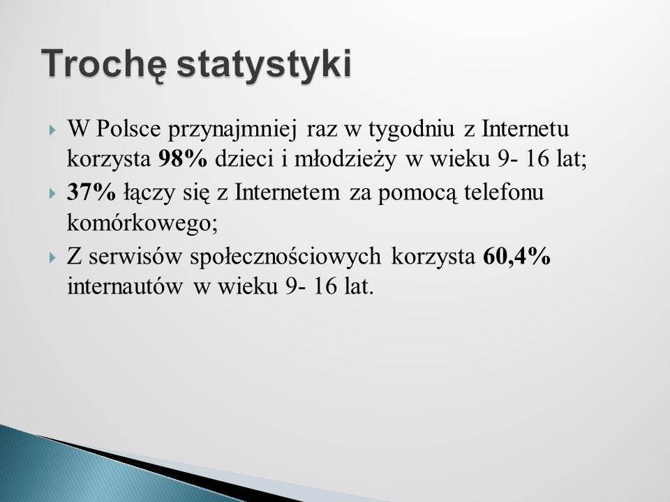 Trochę statystyki W Polsce przynajmniej raz w tygodniu z Internetu korzysta 98% dzieci i młodzieży w wieku 9- 16 lat;