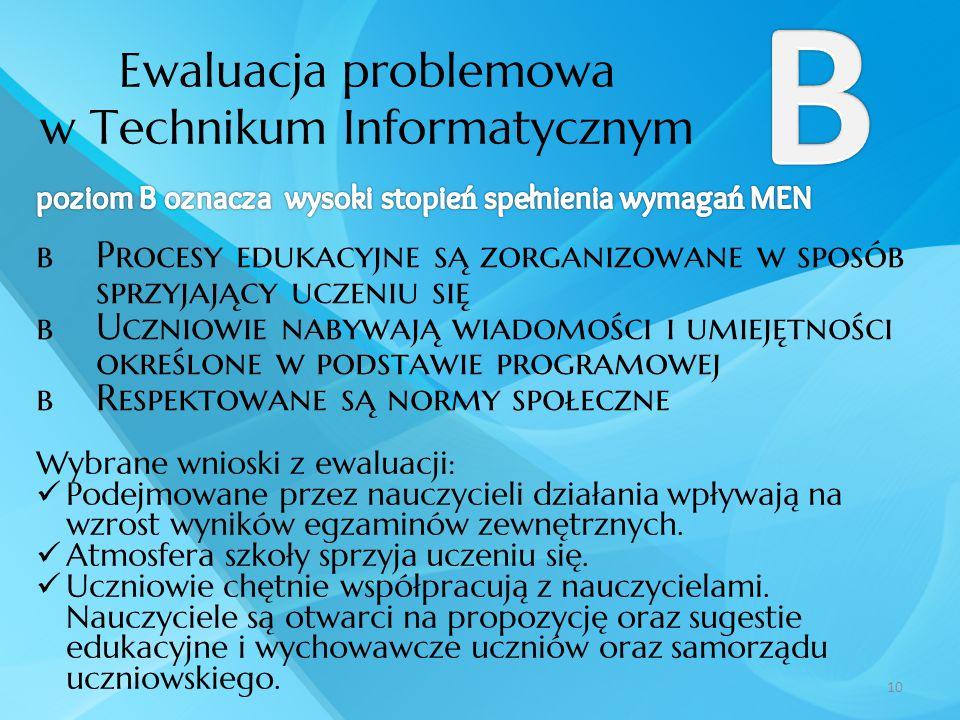 Ewaluacja problemowa w Technikum Informatycznym