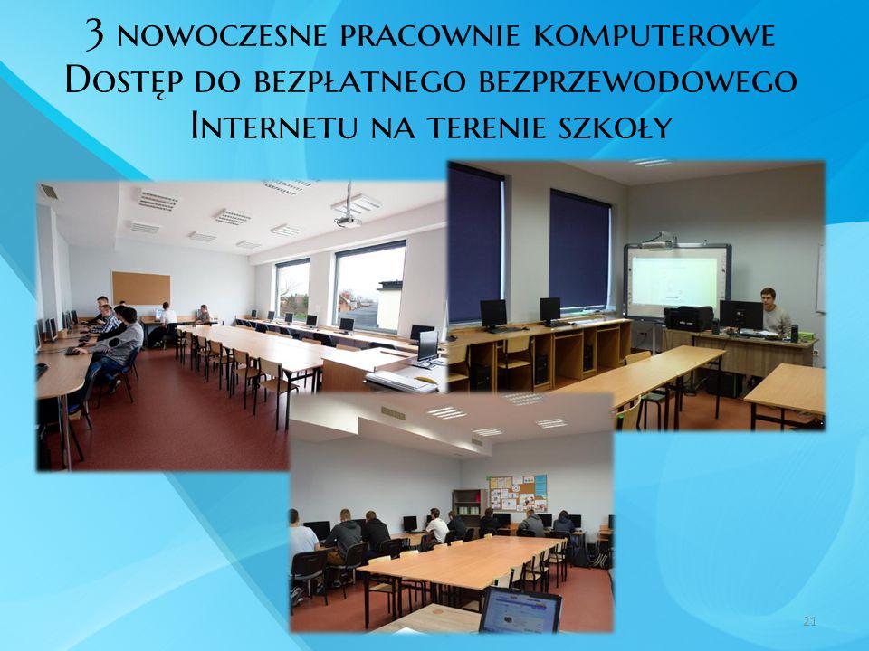 3 nowoczesne pracownie komputerowe Dostęp do bezpłatnego bezprzewodowego Internetu na terenie szkoły