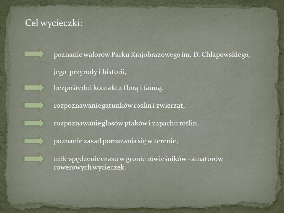 Cel wycieczki: poznanie walorów Parku Krajobrazowego im. D. Chłapowskiego, jego przyrody i historii,