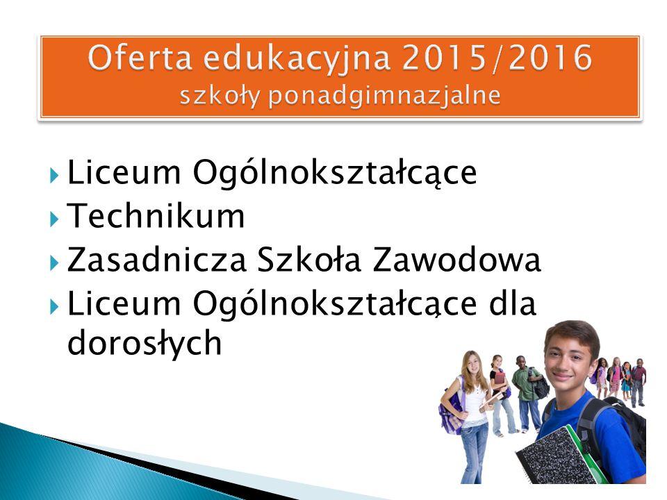 Oferta edukacyjna 2015/2016 szkoły ponadgimnazjalne