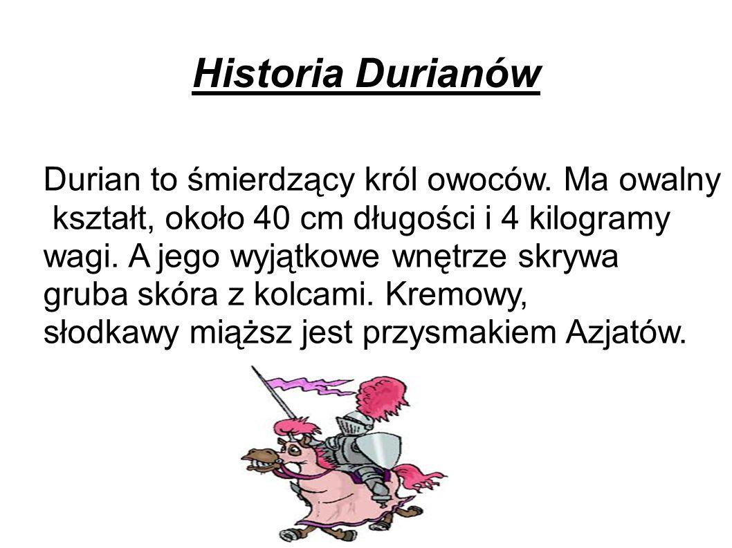 Historia Durianów Durian to śmierdzący król owoców. Ma owalny