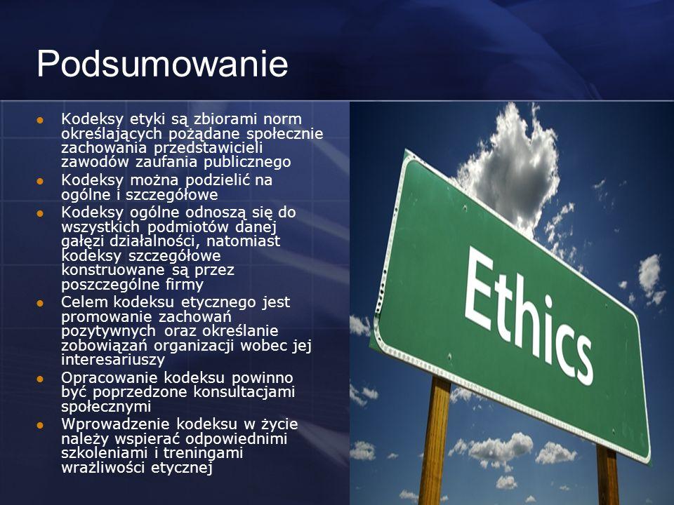 Podsumowanie Kodeksy etyki są zbiorami norm określających pożądane społecznie zachowania przedstawicieli zawodów zaufania publicznego.