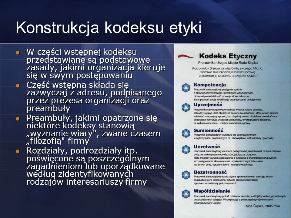 Konstrukcja kodeksu etyki