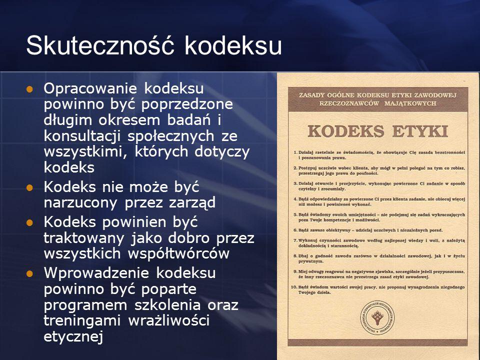 Skuteczność kodeksu Opracowanie kodeksu powinno być poprzedzone długim okresem badań i konsultacji społecznych ze wszystkimi, których dotyczy kodeks.