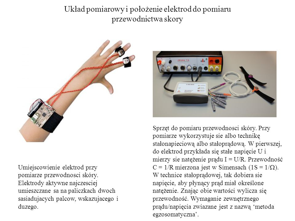Układ pomiarowy i położenie elektrod do pomiaru przewodnictwa skory