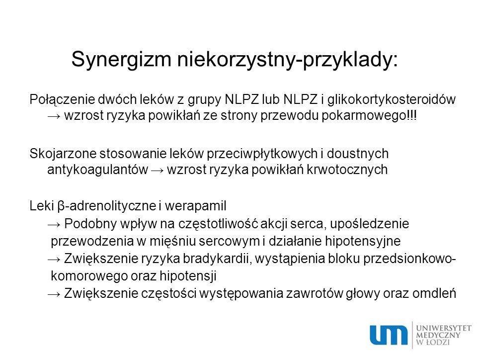 Synergizm niekorzystny-przyklady: