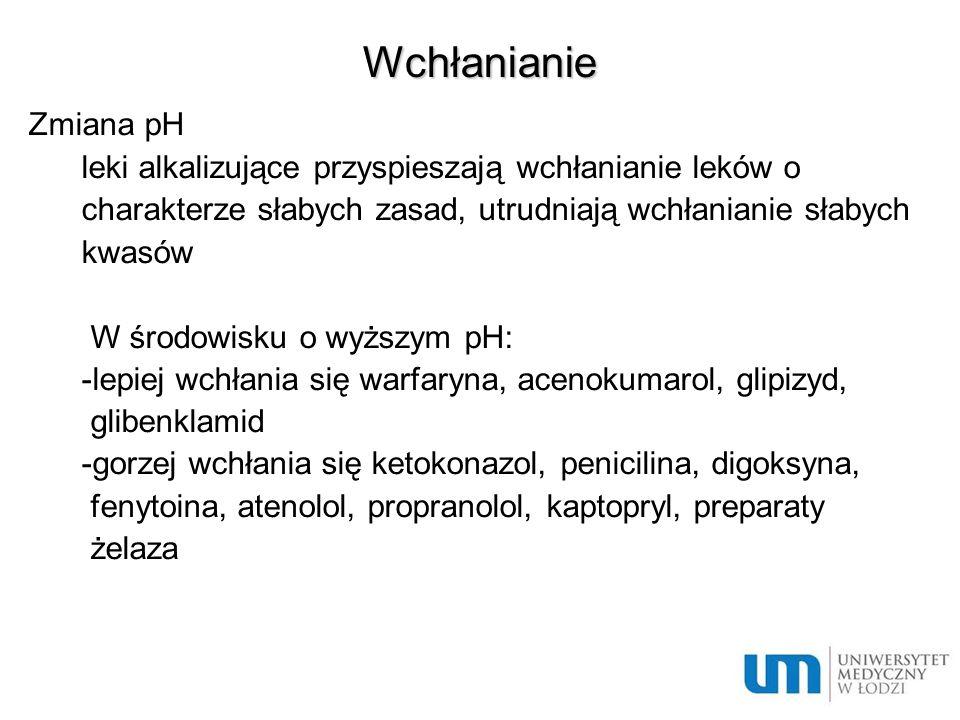 Wchłanianie Zmiana pH. leki alkalizujące przyspieszają wchłanianie leków o. charakterze słabych zasad, utrudniają wchłanianie słabych.