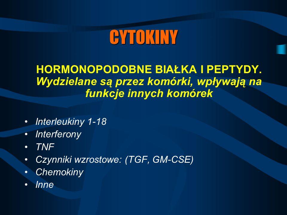 CYTOKINY HORMONOPODOBNE BIAŁKA I PEPTYDY. Wydzielane są przez komórki, wpływają na funkcje innych komórek.