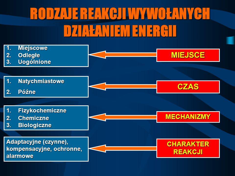 RODZAJE REAKCJI WYWOŁANYCH DZIAŁANIEM ENERGII