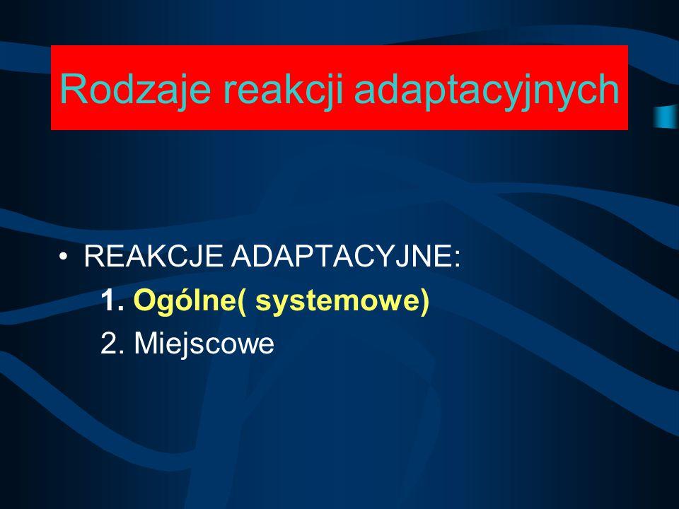 Rodzaje reakcji adaptacyjnych