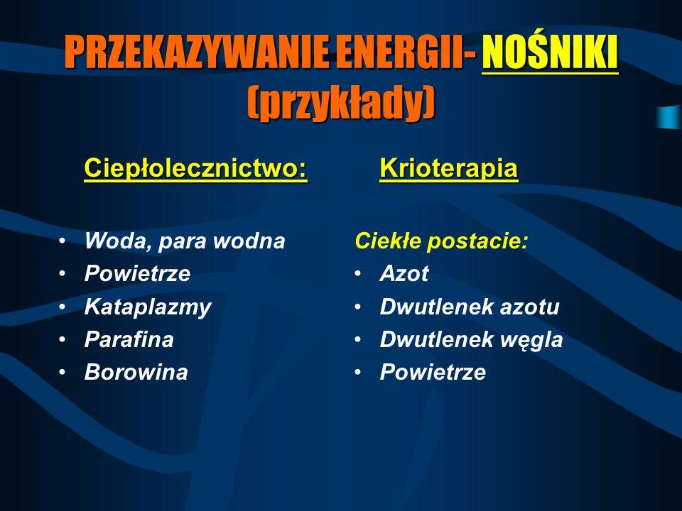 PRZEKAZYWANIE ENERGII- NOŚNIKI (przykłady)