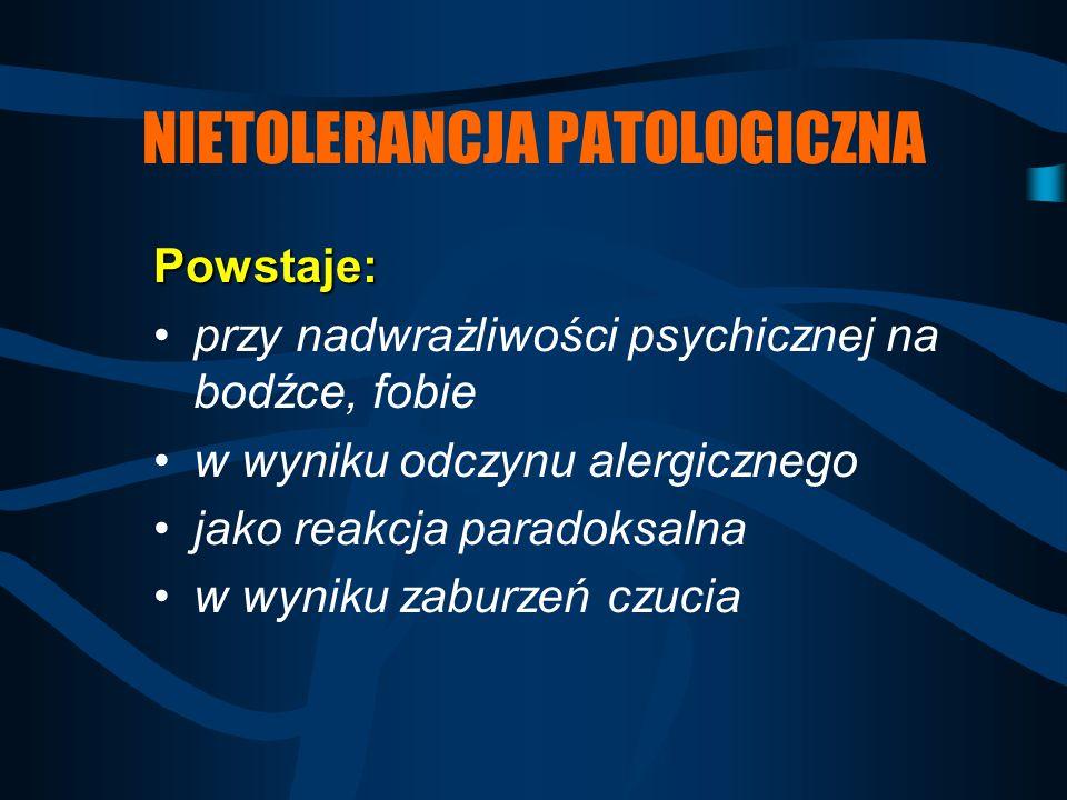 NIETOLERANCJA PATOLOGICZNA