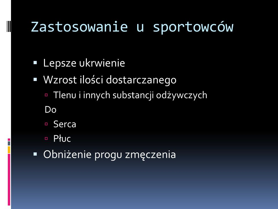 Zastosowanie u sportowców