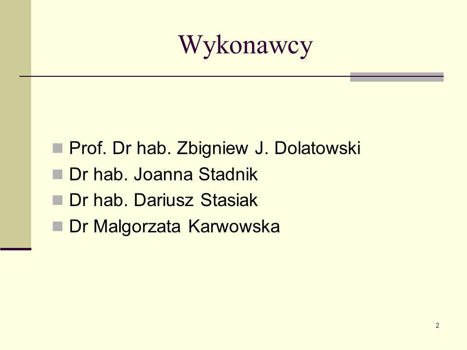 Wykonawcy Prof. Dr hab. Zbigniew J. Dolatowski Dr hab. Joanna Stadnik