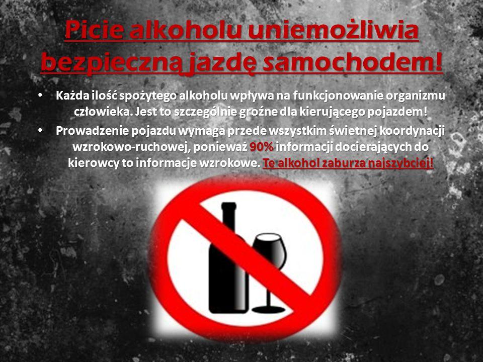 Picie alkoholu uniemożliwia bezpieczną jazdę samochodem!
