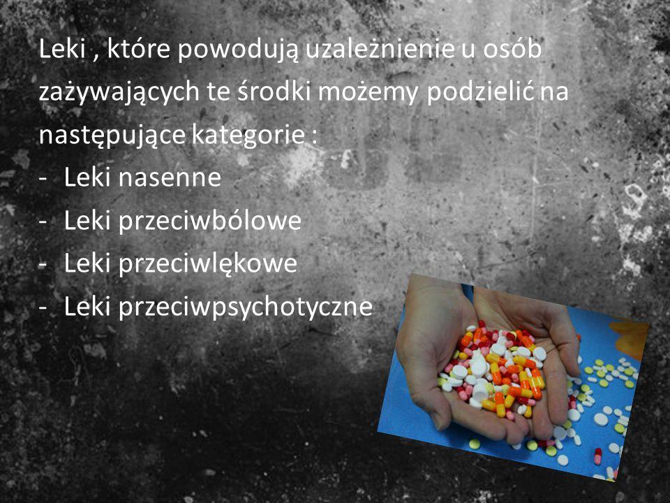 Leki , które powodują uzależnienie u osób