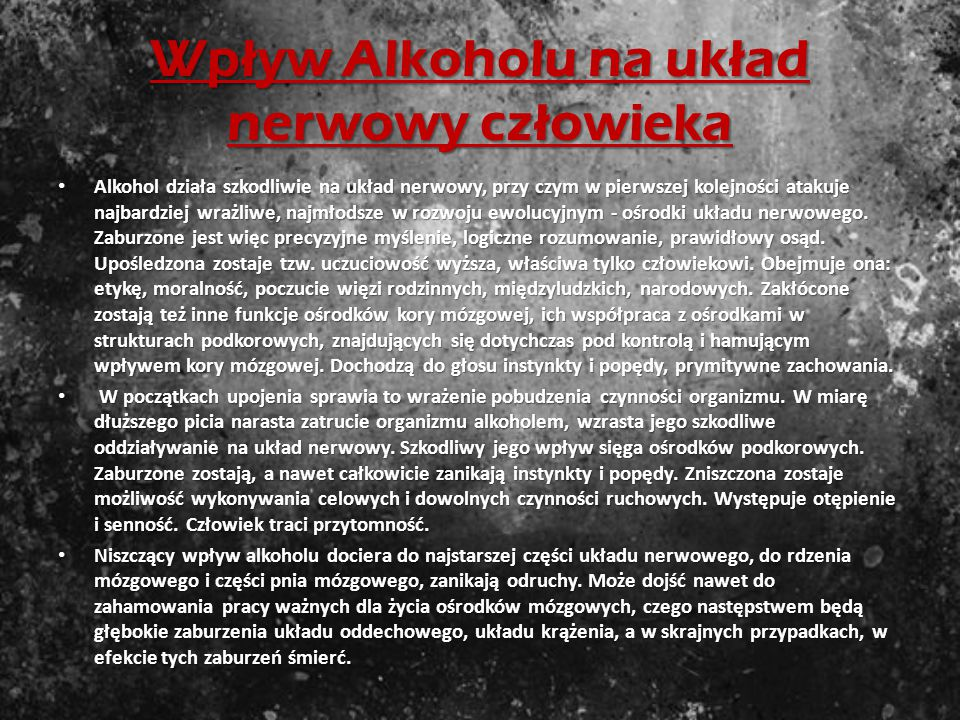 Wpływ Alkoholu na układ nerwowy człowieka