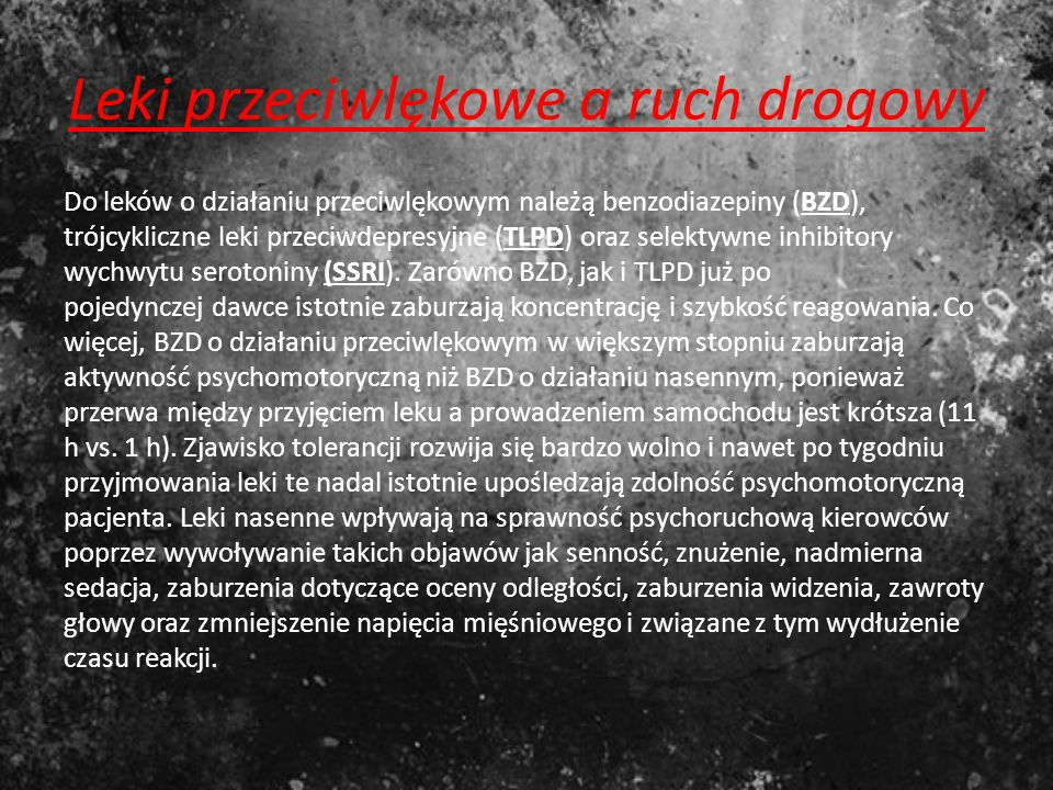 Leki przeciwlękowe a ruch drogowy
