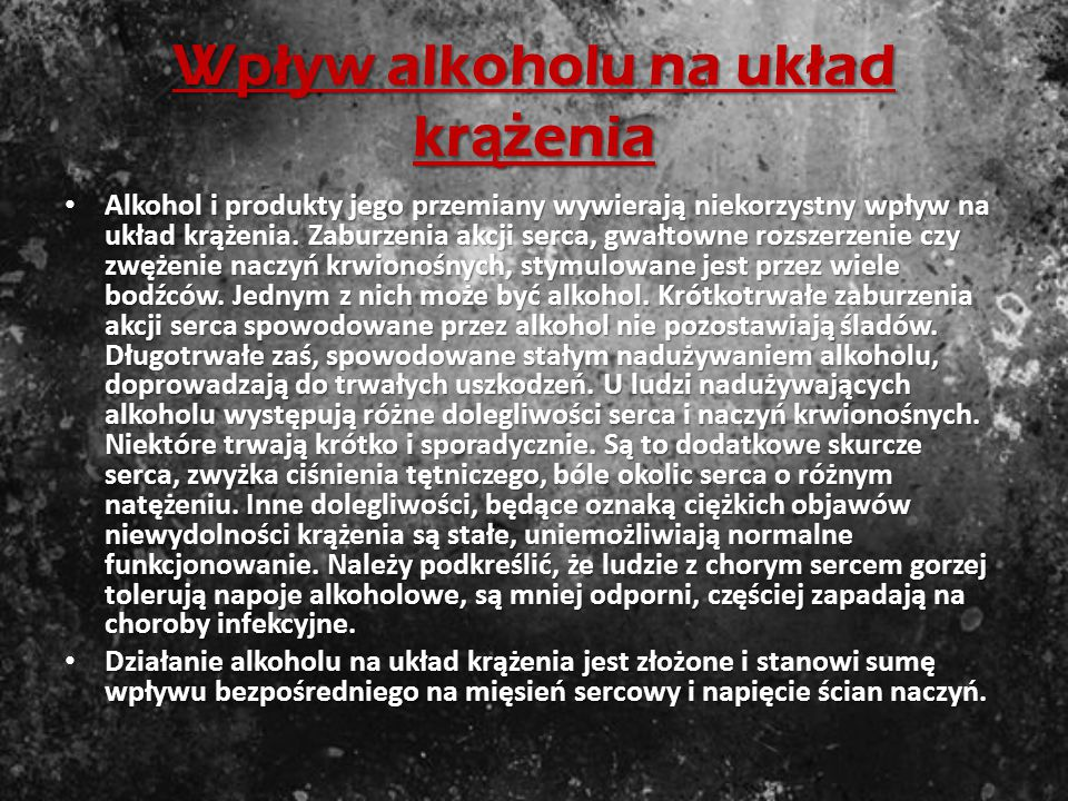 Wpływ alkoholu na układ krążenia