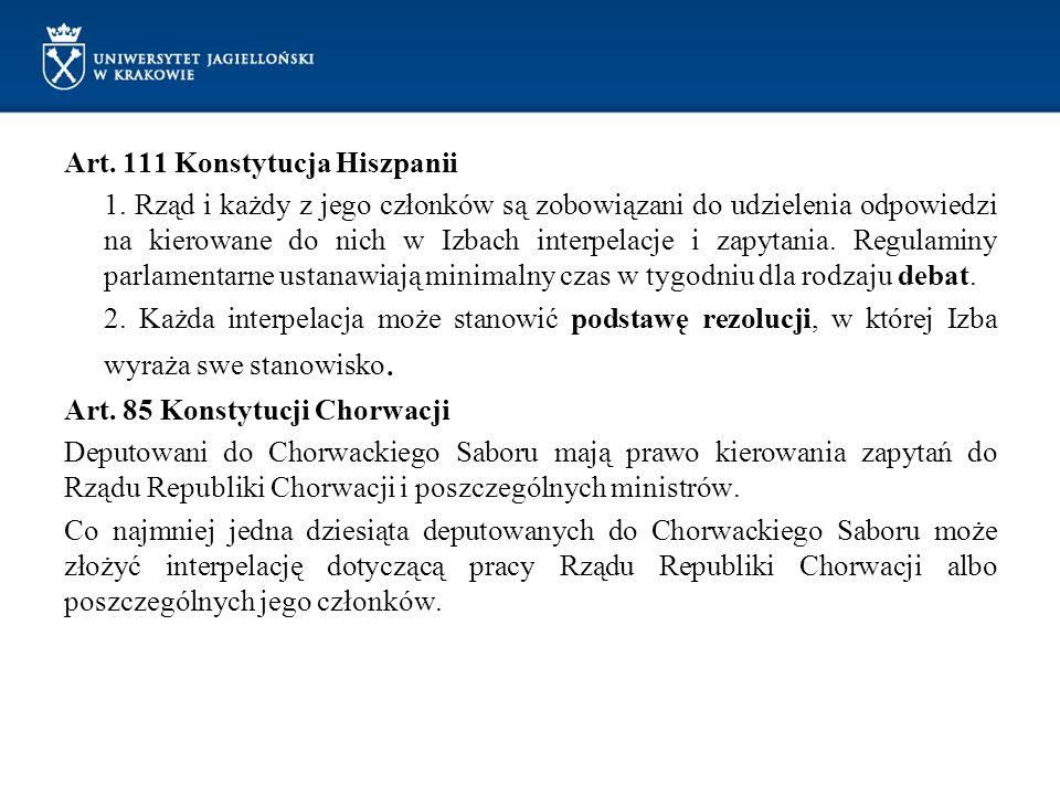 Art. 111 Konstytucja Hiszpanii