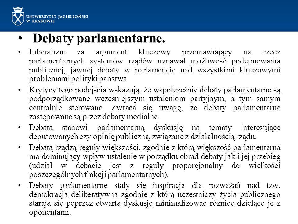 Debaty parlamentarne.